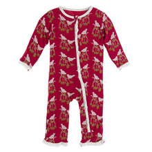 Crimson Kissing Birds Muffin Ruffled Coverall by Kickee Pants