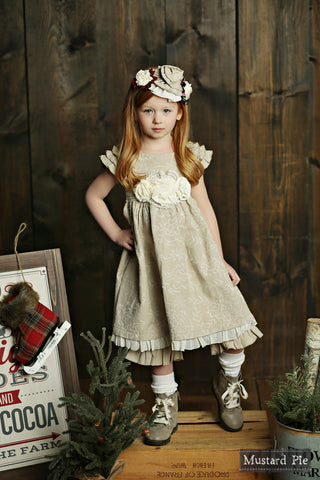 Delphine Party Dress in Bisque by Mustard Pie
