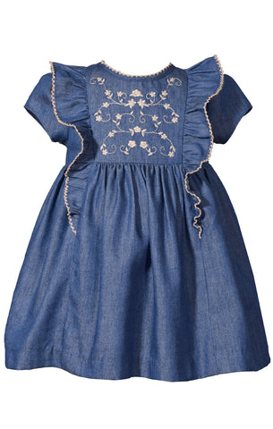 Embroidered Denim Dress by Bonnie Jean
