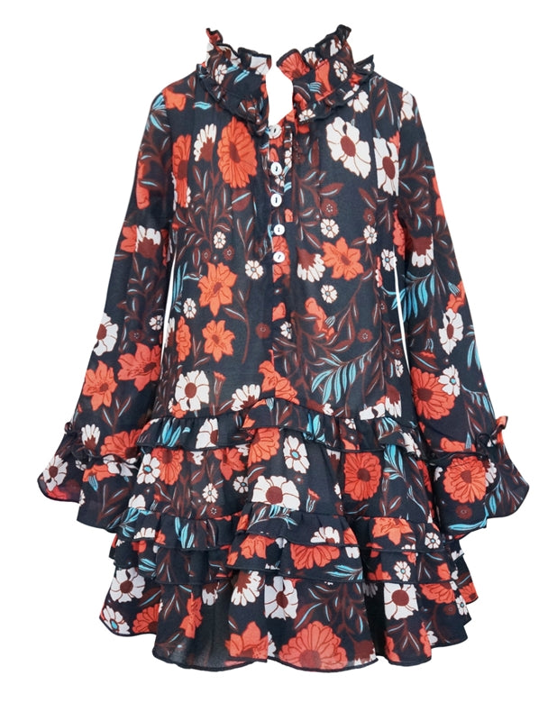 Floral Chiffon Dress with Velvet