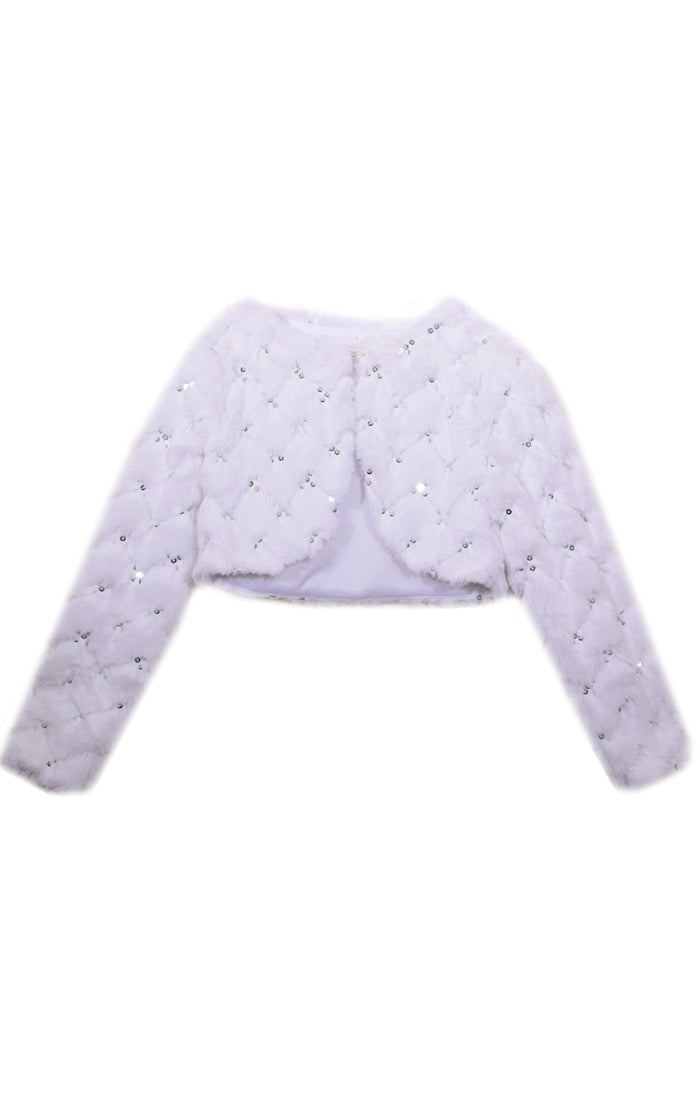 Bonnie Jean White Sequin Faux Fur Jacket