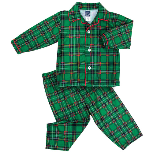 Green Plaid Boys Button Up Pajama Set