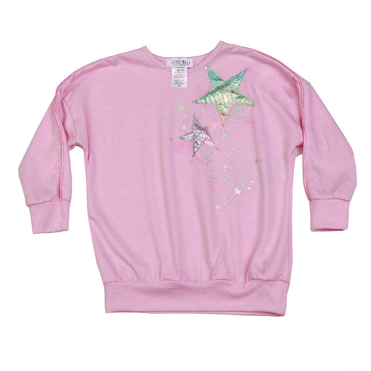 Holographic Star Tunic Sweatshirt by Little Mass