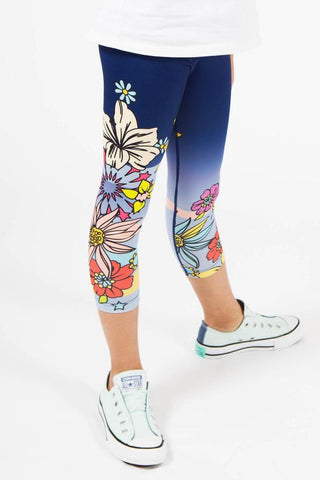 Floral Navy Capri Active Wear Legging