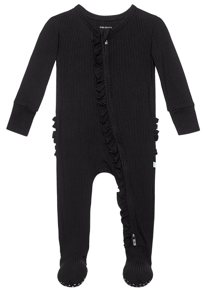 Black Solid Ribbed Zippered Ruffled Footie by Posh Peanut