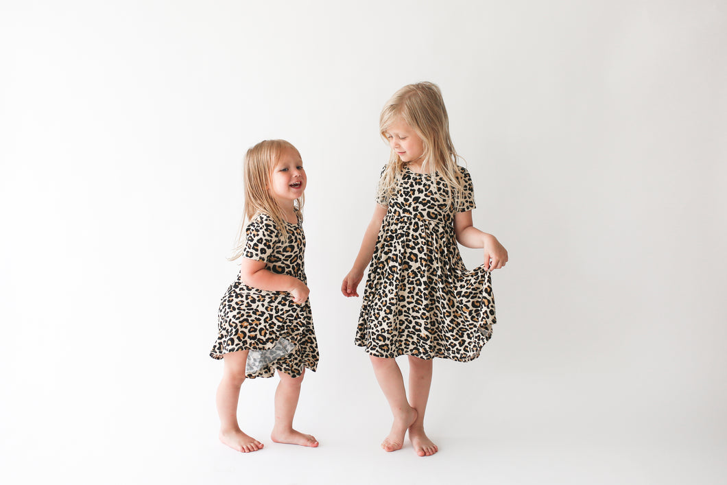 Lana Leopard Short Sleeve Twirl Dress by Posh Peanut