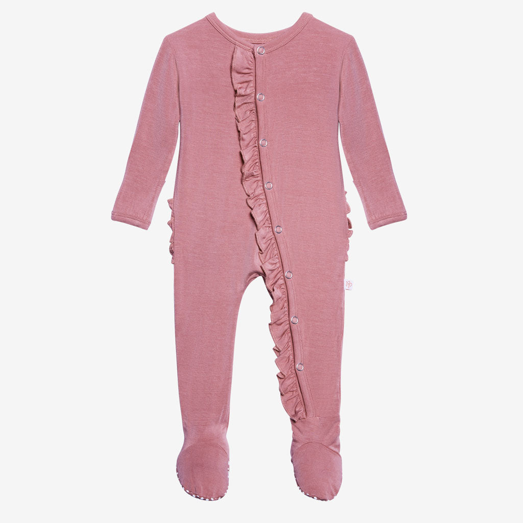 Dusty Rose Ruffled Zippered Footie By Posh Peanut