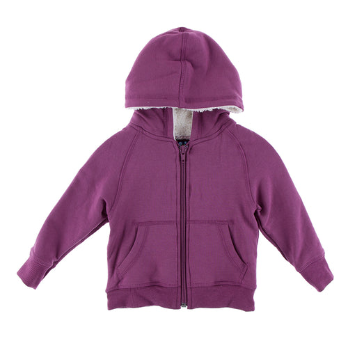 Solid Fleece Zip-front Hoodie with Sherpa-lined Hood - Paleontology