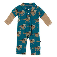 Kickee Pants Paleontology Double Layer Polo Romper