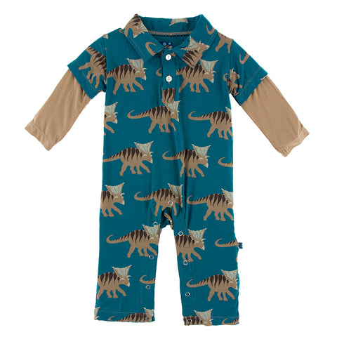 Print Long Sleeve Double Layer Polo Romper - Paleontology
