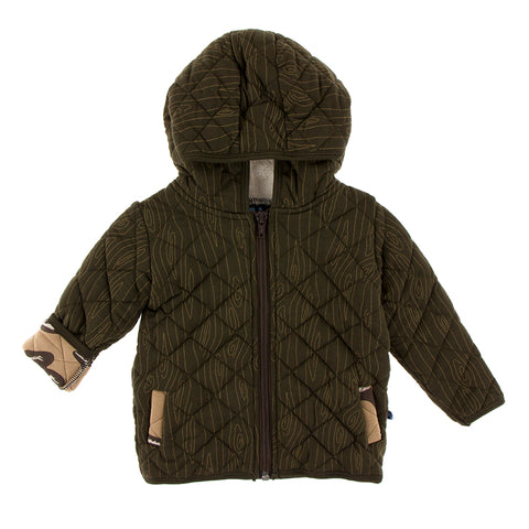 Print Quilted Jacket with Sherpa-Lined Hood  - Paleontology