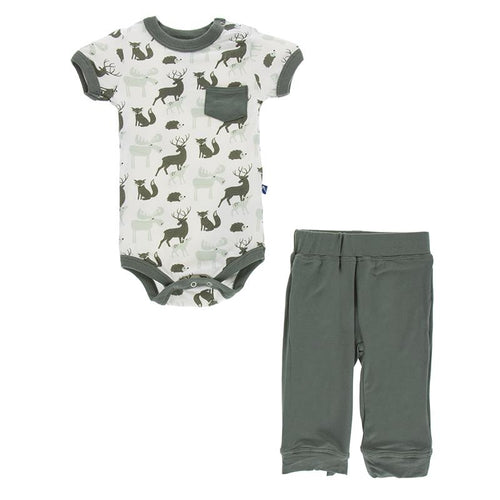 Zoology Pocket One Piece & Pant Set by Kickee Pants