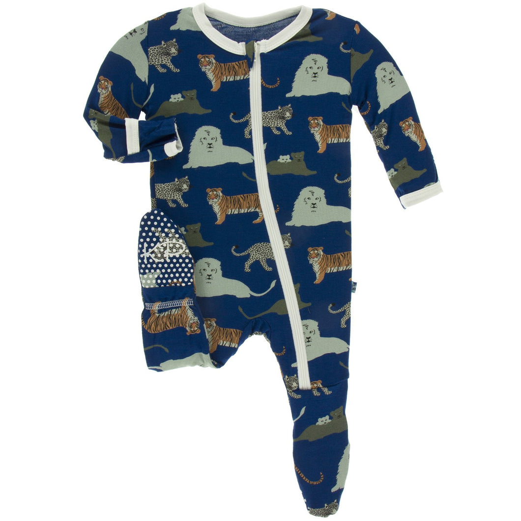 Zoology Zippered Footie by Kickee Pants