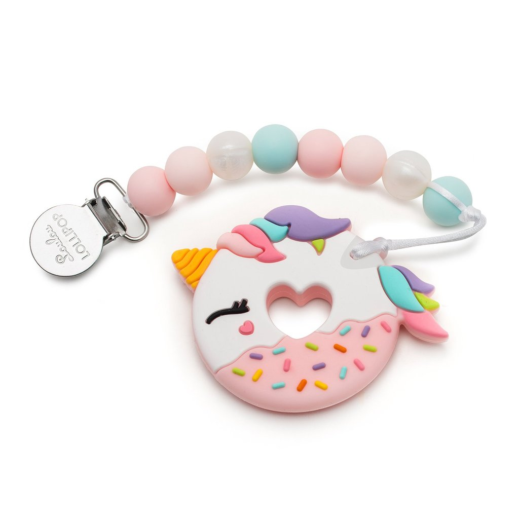 Pink Unicorn Donut Teether by Loulou Lollipop