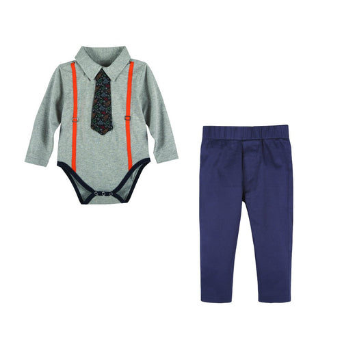 Grey Polo Shirtzie Set
