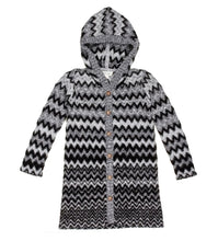 Grey Chevron Hoodie Cardigan in Charcoal