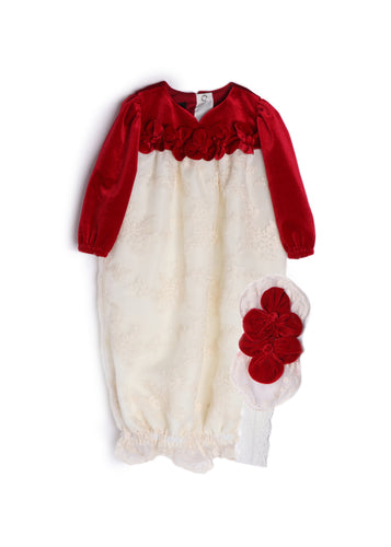 Red Velvet Layette Sack for Newborn