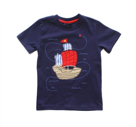 Pirate Ship Applique Tee Shirt & Short Set