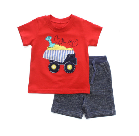 Beachy Dump Truck Applique Shirt & Short Set