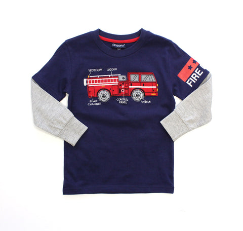 Boy's Fooler Sleeve Top with Fire Truck
