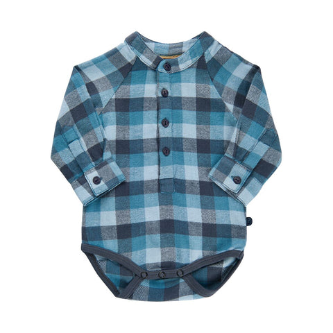 MinyMo Blue Plaid Button Bodysuit