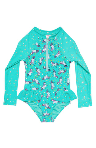 Teal Unicorn Zipper Swimsuit