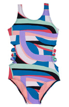 Abstract Swimsuit W/ Side Bows