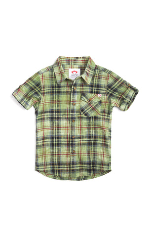 Benson Shirt In Gold Green Plaid by Appaman