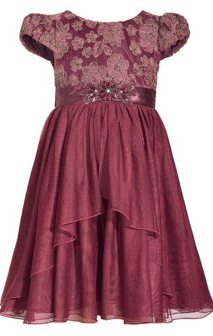 Embroidered Plum Dress with Peplum