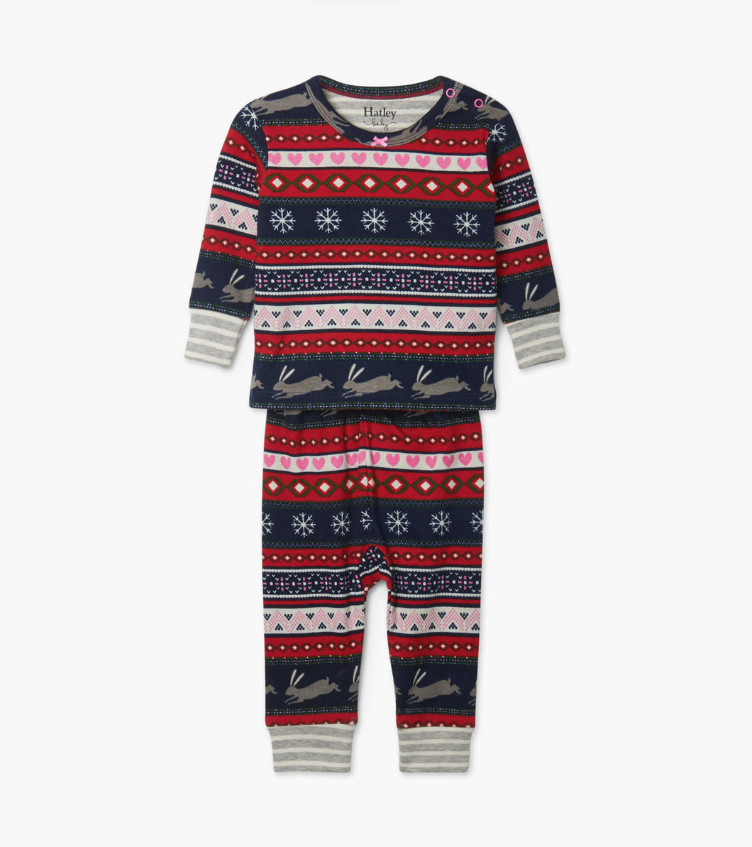 Fair Isle Bunnies Baby Pajamas by Hatley