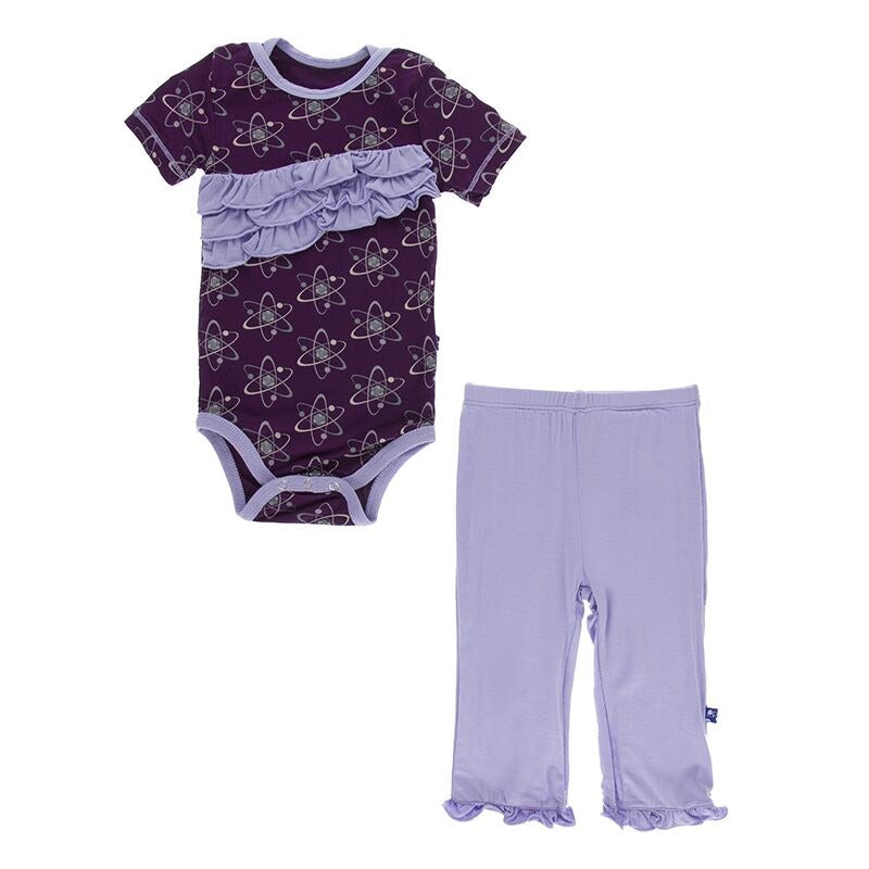 Diagonal Ruffle Onesie and Pant Outfit by Kickee Pants