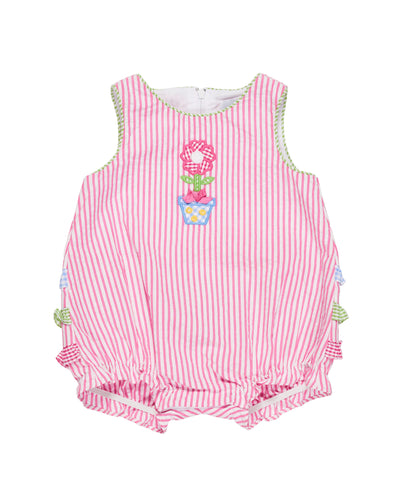 Pink Stripe Romper with Flower Applique and Ruffles