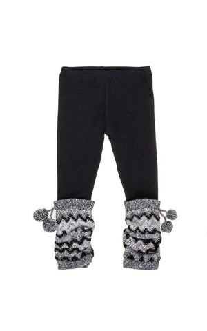 Grey Chevron Leggings in Charcoal