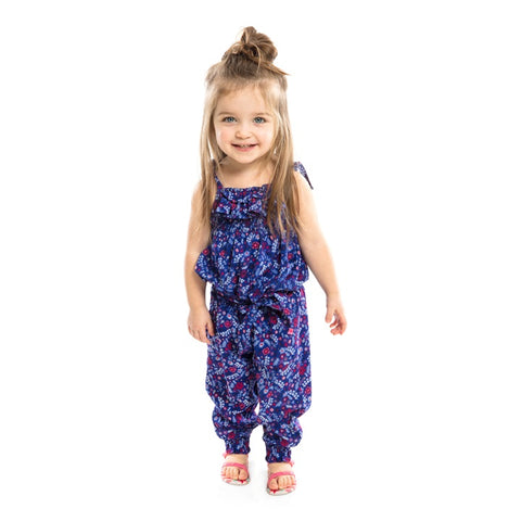 Blue Floral Romper Infant Girl