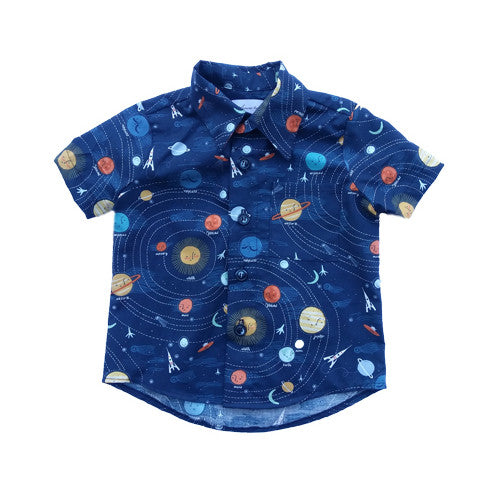 Space Button Up Shirt by FiveLoavesTwoFish