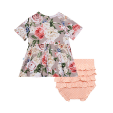 Cassie Short Sleeve Peplum Top & Bloomers by Post Peanut