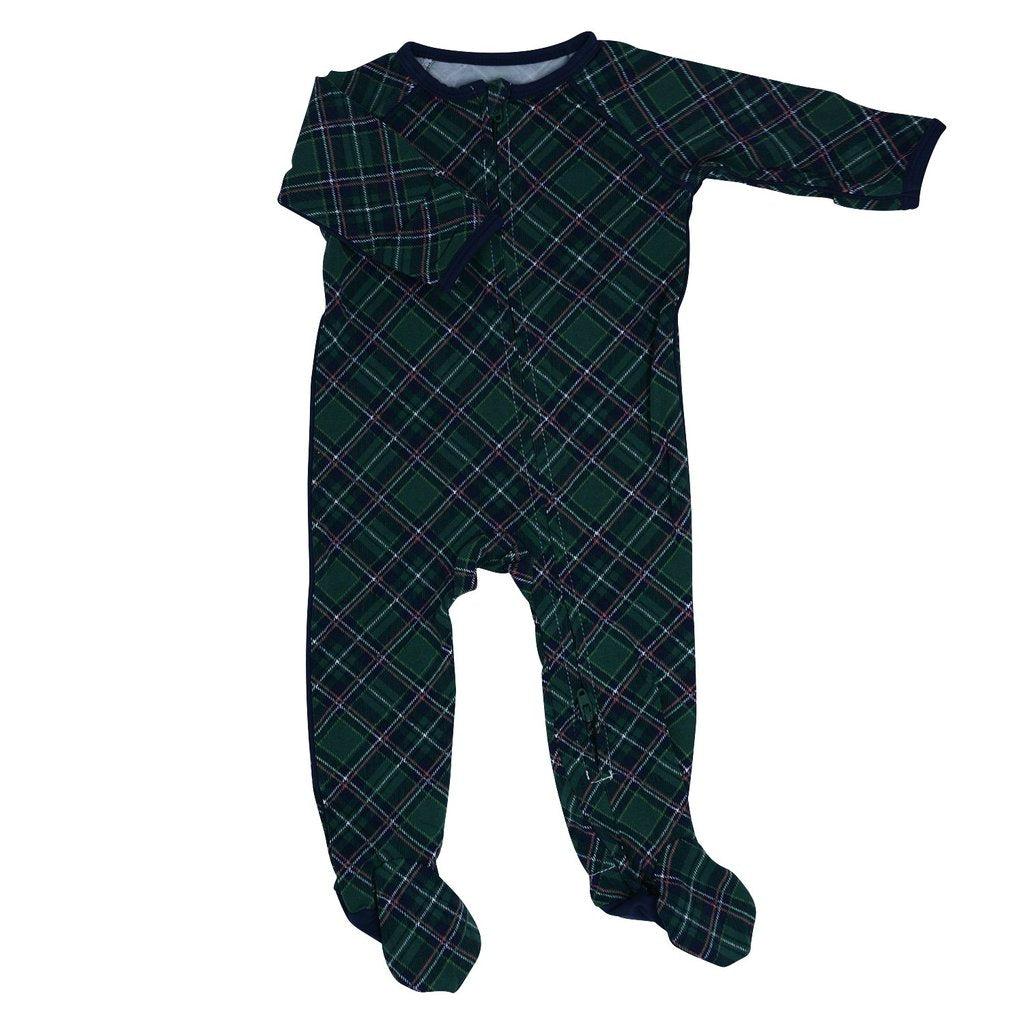 Green Plaid Zipper Footie by Sweet Bamboo
