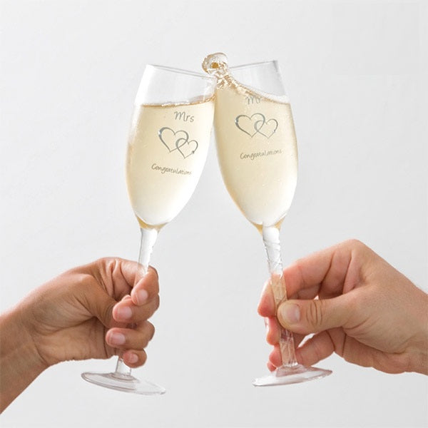 ROMANTIC ITEMS CONGRATULATIONS MR & MRS GLASSES (PACK OF 2)