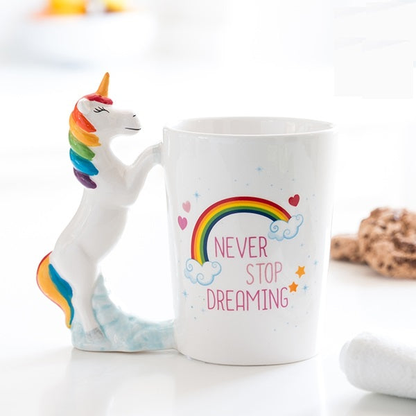 NEVER STOP DREAMING UNICORN MUG