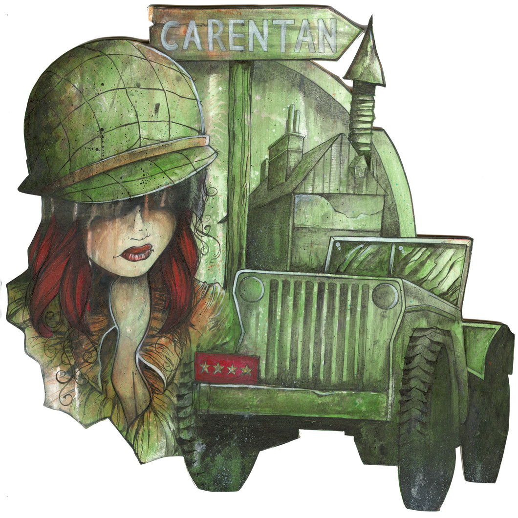 Patton's Jeep Girl (Woodcut)