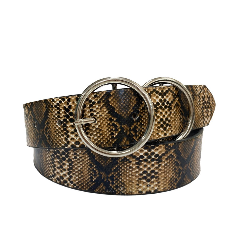 TOWNSVILLE - Womens Snake Skin Double Ring Genuine Leather Belt