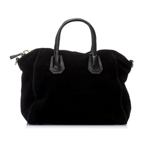 ST IVES - Soft Genuine Leather Suede Handbag in Black - Addison Road