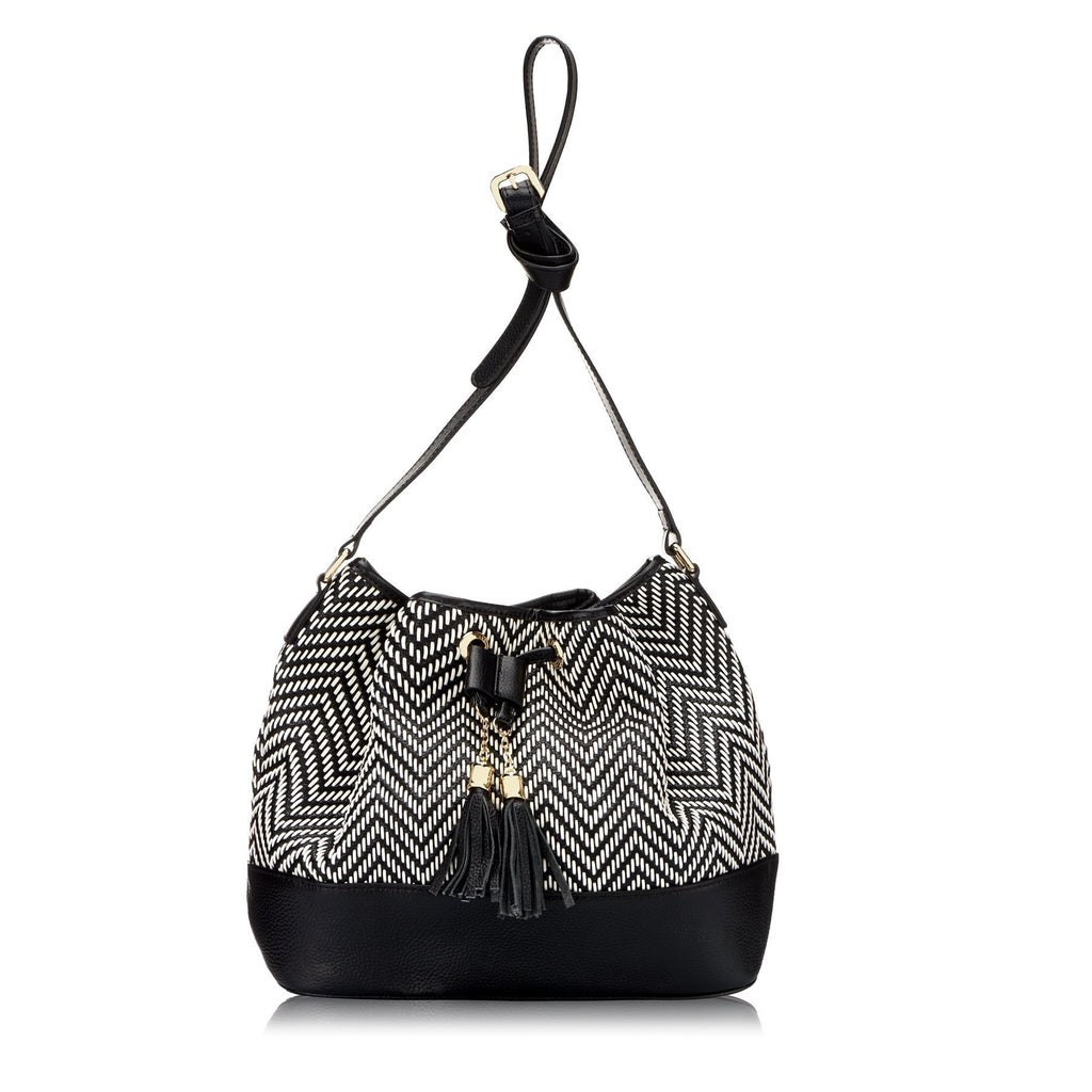 HENLEY - Addison Road Black & White Weave Bucket Bag - Addison Road