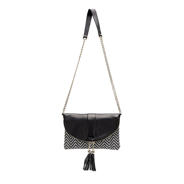 CHISWICK - Addison Road Black & White Weave Crossbody Bag