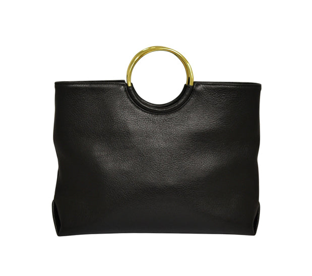 MILLFIELD Black Structured Leather Ring Handle Bag - Addison Road