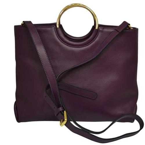 MILLFIELD Grape Structured Leather Ring Handle Bag - Addison Road