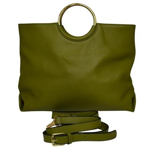 MILLFIELD Green Structured Leather Ring Handle Bag - Addison Road