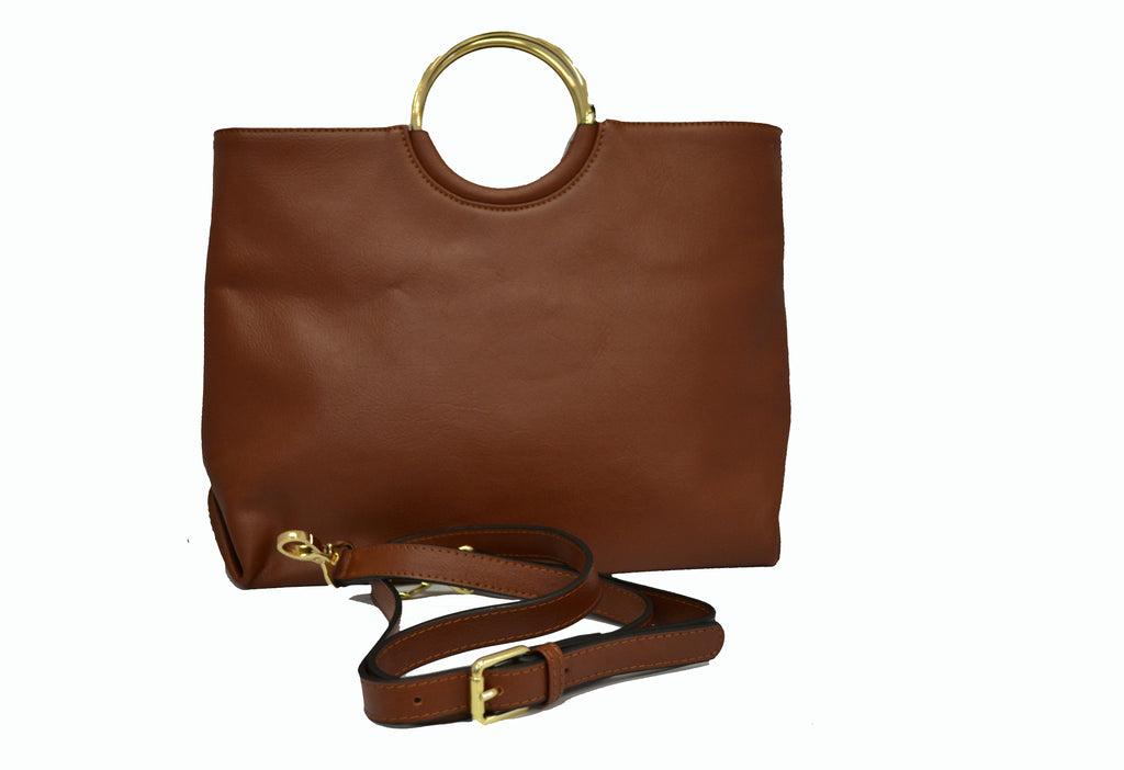 MILLFIELD Tan Structured Leather Ring Handle Bag - Addison Road