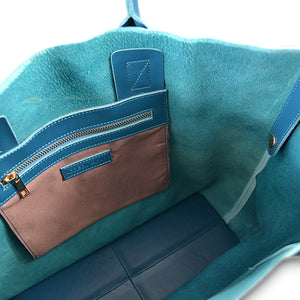 BIRCHGROVE - Blue Genuine Leather Shopper Slouch Tote - Addison Road