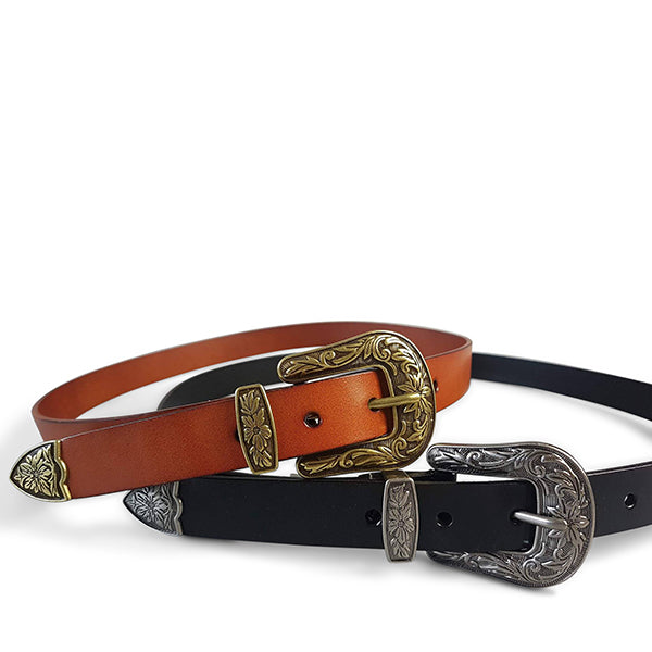 CAMDEN - Addison Road Tan Leather Belt with Floral Western Buckle - Addison Road